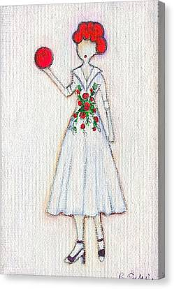 Lucy's Rosey Red Ball Canvas Print by Ricky Sencion