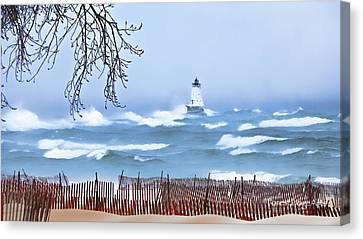 Ludington Winter Shore  Canvas Print