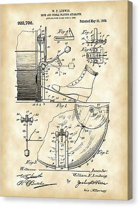 Ludwig Drum And Cymbal Foot Pedal Patent 1909 - Vintage Canvas Print by Stephen Younts