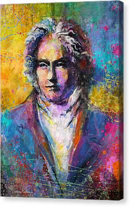 Ludwig Van Beethoven Portrait Musical Pop Art Painting Print Canvas Print by Svetlana Novikova