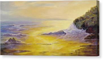 Canvas Print featuring the painting Lufenholtz At Sunset by Rebecca Kimbel