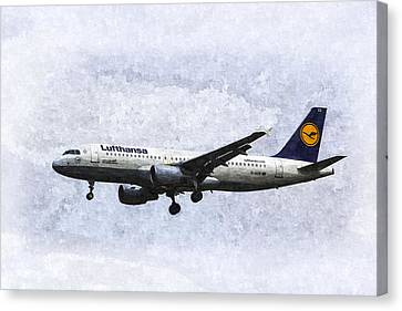 Lufthansa Airbus A320 Art Canvas Print by David Pyatt