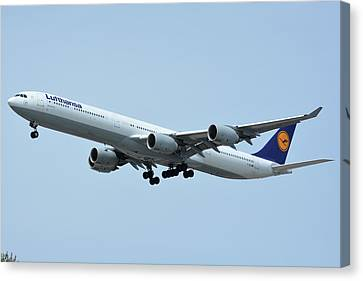 Canvas Print featuring the photograph Lufthansa Airbus A340-600 D-aihw Los Angeles International Airport May 3 2016 by Brian Lockett
