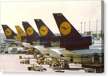 Lufthansa Dc-10s At Frankfurt Canvas Print by Jamie Baldwin