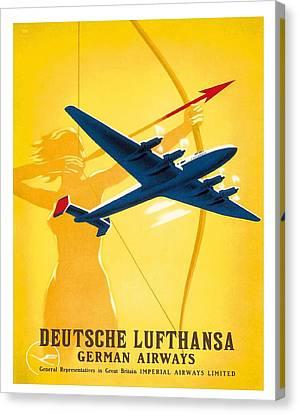 Lufthansa German Airways Archer Vintage Travel Poster By Willy Hanke Canvas Print by Retro Graphics