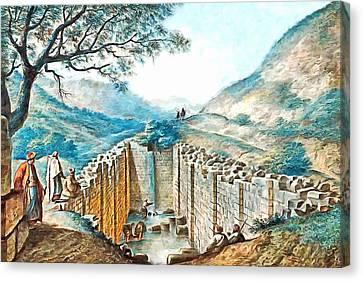 Luigi Mayer Ancient Pool Of Siloam Canvas Print by Munir Alawi