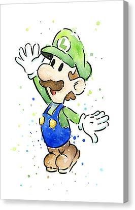 Character Canvas Print - Luigi Watercolor by Olga Shvartsur