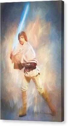 Luke Skywalker Watercolor Canvas Print by Dan Sproul