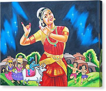 Canvas Print featuring the painting Lullaby Of Lord Krishna by Ragunath Venkatraman