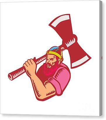 Lumberjack Axe Woodcut Canvas Print