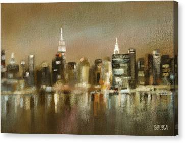 Brown Tones Canvas Print - Luminous New York Skyline  by Beverly Brown
