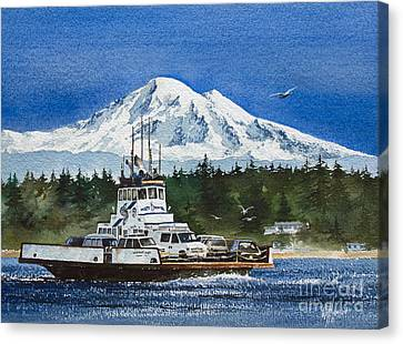 Pacific Northwest Ferry Canvas Print - Lummi Island Ferry And Mt Baker by James Williamson