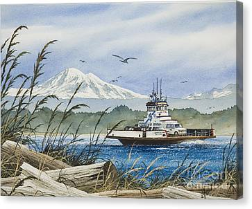 Pacific Northwest Ferry Canvas Print - Lummi Island Ferry by James Williamson