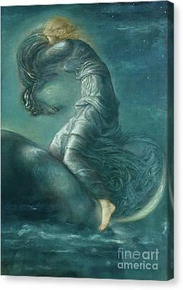 Luna Canvas Print by Edward Coley Burne-Jones