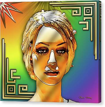 Canvas Print featuring the digital art Luna Loves Deco by Chuck Staley
