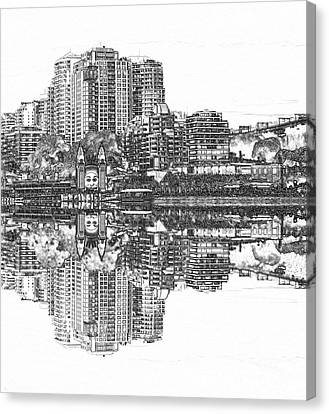 Canvas Print featuring the photograph Luna Park Pencil Ink By Kaye Menner by Kaye Menner