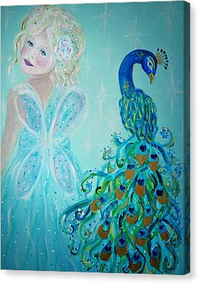 Luna Shows Her Feathers Canvas Print by The Art With A Heart By Charlotte Phillips
