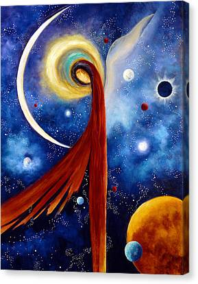 Canvas Print featuring the painting Lunar Angel by Marina Petro