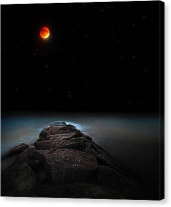 Glowing Moon Canvas Print - Lunar Eclipse by Bill Wakeley