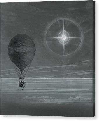 Lunar Halo And Luminescent Cross Observed During The Balloon Zenith's Long Distance Flight Canvas Print by French School