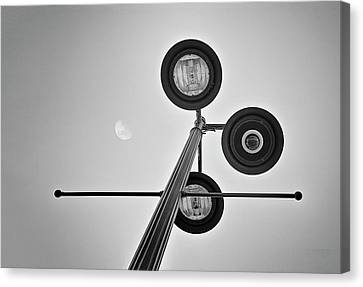 Lunar Lamp In Black And White Canvas Print by Tom Mc Nemar
