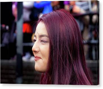 Lunar New Year Nyc 2017 Woman With Dyed Hair Canvas Print by Robert Ullmann