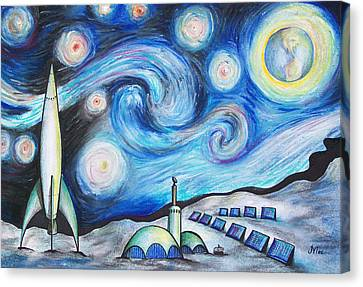 Solar Canvas Print - Lunar Starry Night by Jerry Mac