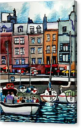 Lunch At The Harbor Canvas Print by Elizabeth Robinette Tyndall