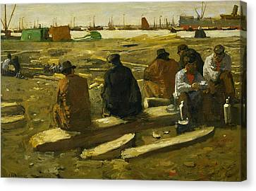 Lunch Break At The Building Site In The Van Diemenstraat In Amsterdam Canvas Print by George Hendrik Breitner