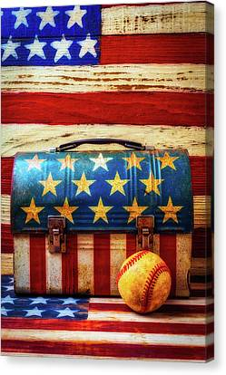 Lunch Pail And Baseball Canvas Print by Garry Gay