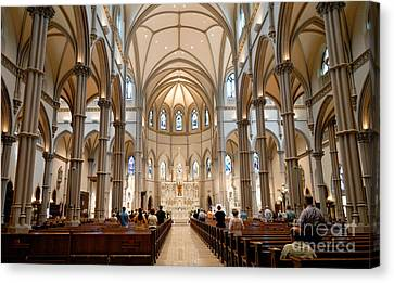 Column Canvas Print - Lunchtime Mass At Saint Paul Cathedral Pittsburgh Pa by Amy Cicconi