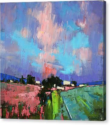 Canvas Print featuring the painting Lupines Color by Anastasija Kraineva