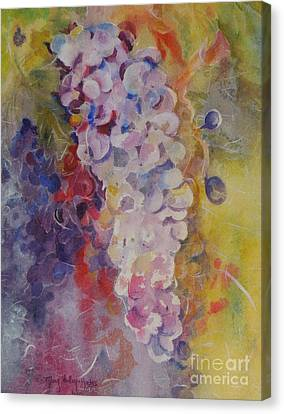 Canvas Print featuring the painting Luscious Grapes by Mary Haley-Rocks