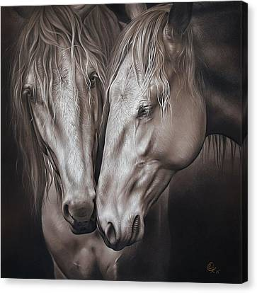 Lusitano Pair Canvas Print by Elena Kolotusha