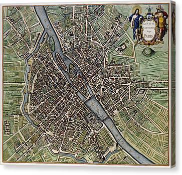 Lutetia Parisiorum Vulgo Paris - 1657 Antique Map Of Paris Joannes Janssonius Canvas Print
