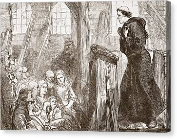 Luther Preaching In The Old Wooden Church At Wittemberg Canvas Print by English School