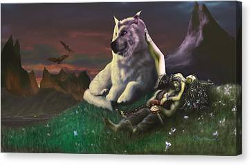 Luthien Tends Beren Canvas Print by Rick Ritchie