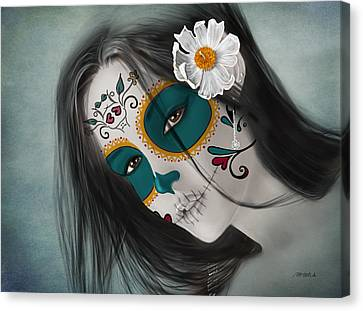 Lux Inmortal Day Of The Dead Sugar Skull  Canvas Print by Maggie Terlecki