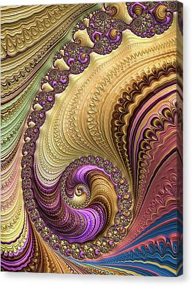 Canvas Print featuring the digital art Luxe Colorful Fractal Spiral by Matthias Hauser