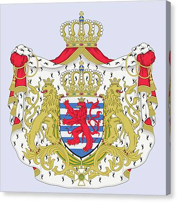 Canvas Print featuring the drawing Luxembourg Coat Of Arms by Movie Poster Prints