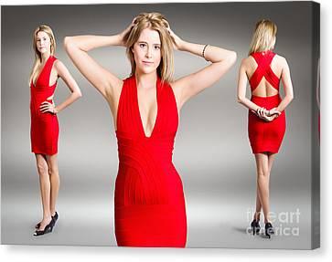 Luxury Female Fashion Model In Classy Red Dress Canvas Print