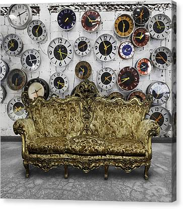 Cement Canvas Print - Luxury Sofa  In Retro Room by Setsiri Silapasuwanchai