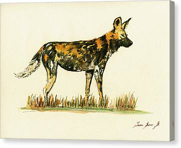 Wild Dogs Canvas Print - Lycaon Wild African Dog by Juan  Bosco