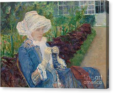 Lydia Crocheting In The Garden At Marly Canvas Print