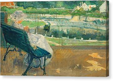 Park Benches Canvas Print - Lydia Seated On A Porch Crocheting by Mary Stevenson Cassatt