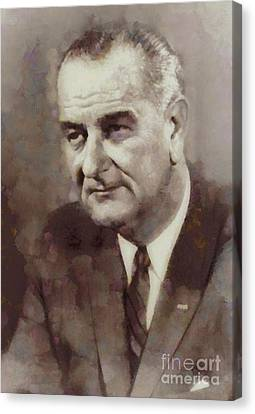 Lyndon B. Johnson, President Of The United States By Sarah Kirk Canvas Print by Sarah Kirk