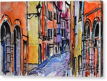 Lyon Cityscape - Street Scene #01 - Rue Saint Georges Canvas Print by Mona Edulesco