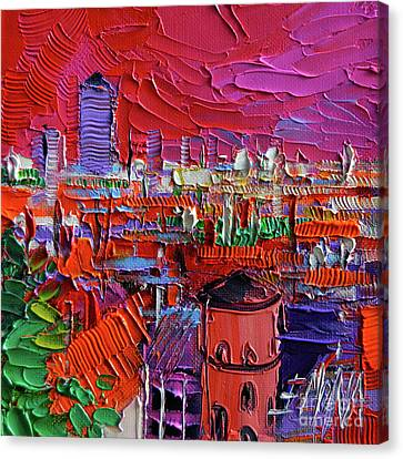 Lyon View In Pink Canvas Print by Mona Edulesco