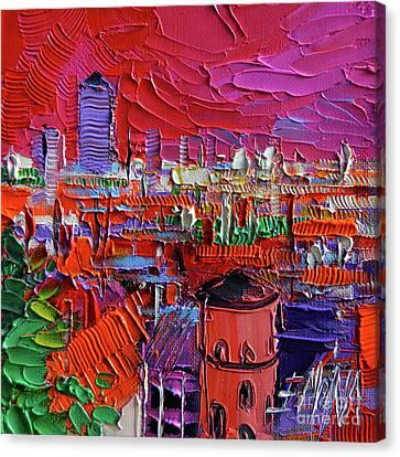 Lyon View In Pink Canvas Print by Mona Edulesco