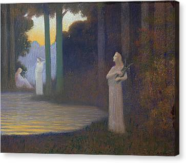 Lyricism In The Forest Canvas Print by Alphonse Osbert